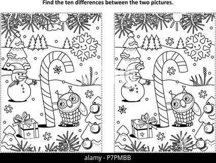 Winter holidays, New Year or Christmas themed find the ten differences picture puzzle and coloring page with magical candy cane, owl and snowman. - Stock Image