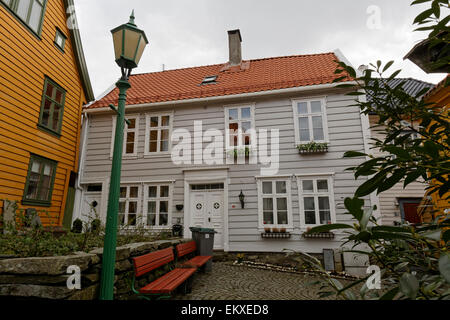 Wooden house in the Bergen city center. - Stock Image