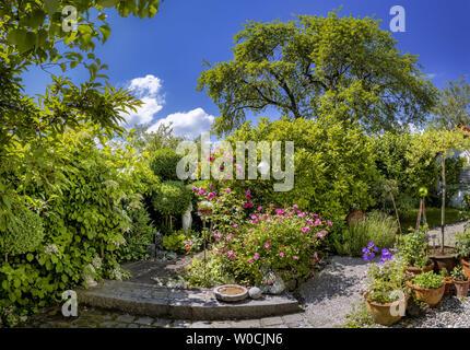 Garden in Summer, Bavaria, Germany - Stock Image