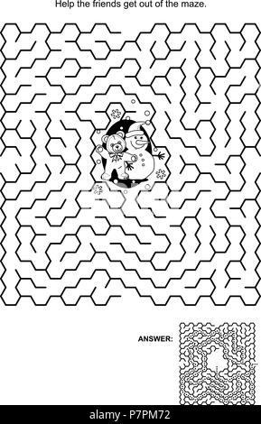 Maze game, black and white: Help the teddy bear and snowman get out of the maze. Answers included. - Stock Image