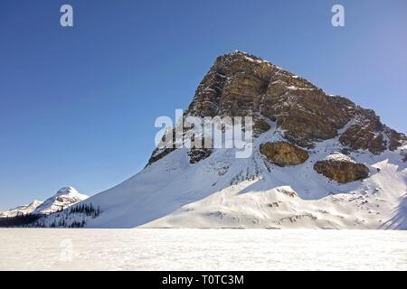Jagged Mountain Peak towering above Frozen Bow Lake on First Day of Spring 2019 in Banff National Park, Canadian Rockies - Stock Image