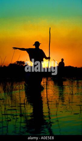 Okavango Boatmen - Stock Image