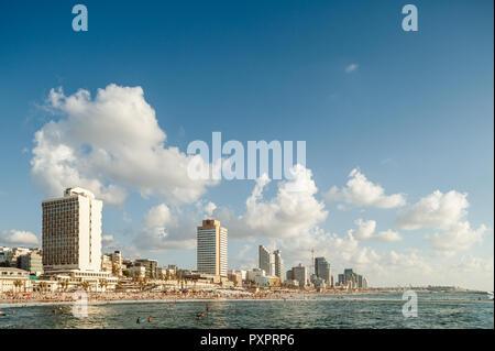 Israel, Tel Aviv - 07 September 2018: Cityscape of Tel Aviv at the seashore - Stock Image