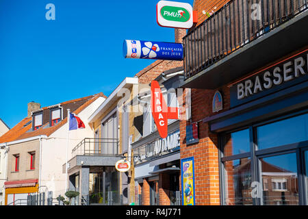 Tabac and brasserie signs, France - Stock Image