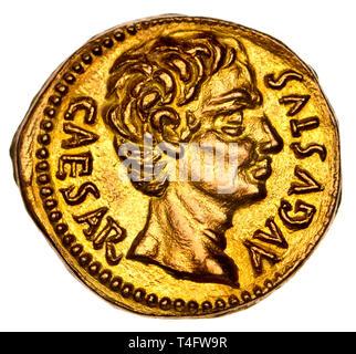 Gold Roman Coin (replica) Caesar Augustus - Stock Image