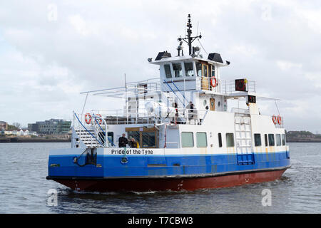 The Shields Ferry on the River Tyne in north-east England. The ferry carries people and bicycles between North Shields and South Shields. - Stock Image