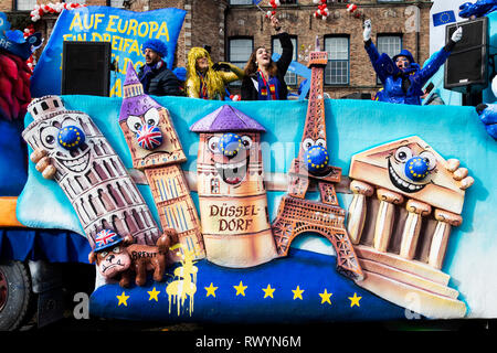 Düsseldorf, Germany. 4 March 2019. Float for Europe Day. The annual Rosenmontag (Rose Monday or Shrove Monday) carnival parade takes place in Düsseldorf. - Stock Image