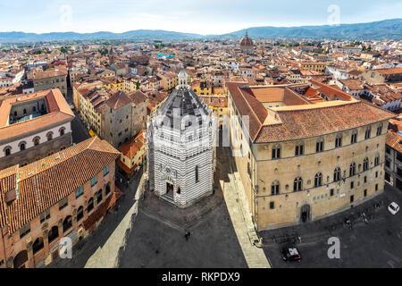 Pistoia, Italy. Aerial view to Battistero di San Giovanni in Corte and Piazza del Duomo - Stock Image