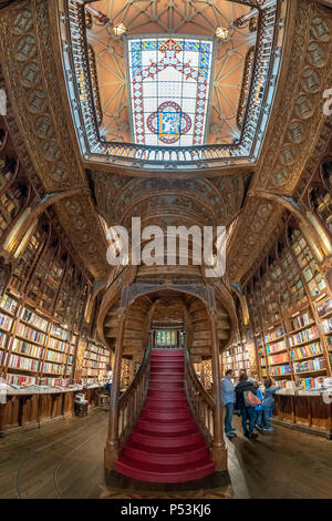 famous Lello Bookshop, interieur, stairs, ceiling,  Porto Portugal - Stock Image