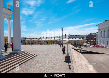 Helsinki Senate Square seen from the North end with the Helsinki Lutheran Cathedral to the left in summer - Stock Image