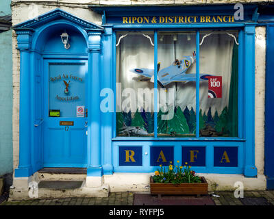 The Ripon and District branch of RAFA the Royal Air Force Association in Kirkgate Ripon , a charitable organisation providing support for ex-RAF - Stock Image