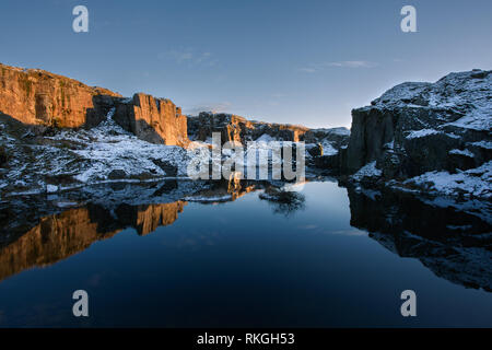 Foggintor Quarry in winter Dartmoor national park Devon Uk - Stock Image