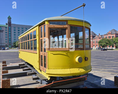 Historical city streetcar that ran in Montgomery Alabama, USA on the Lightning Route, on static display. - Stock Image