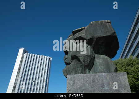 Karl Marx Monument in Chemnitz after the demonstrations in August 2018  with the chemnitz we are not brown or grey poster - Saxony, Germany - Stock Image