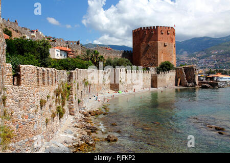 Turkey, province of Antalya, Alanya, the ramparts and the red tower - Stock Image