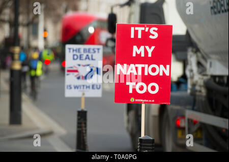 Westminster, London, UK. 18th March, 2019. SODEM's Pro-remain posters and placards fixed to railings at Abingdon Street outside the Houses of Parliament. Credit: Malcolm Park/Alamy Live News. - Stock Image