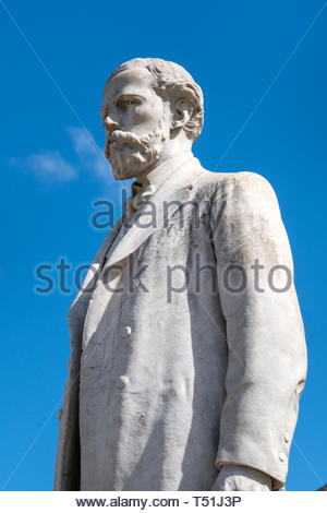 White marble monument honoring Miguel Jeronimo Gutierrez in the 'La Pastora' park. Detail of the human likeness part. He was a poet, journalist, and p - Stock Image