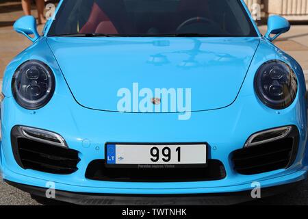 Monte-Carlo, Monaco - June 20, 2019: Blue Porsche 911 Carrera Turbo S (991) Parked In Front Of The Monte Carlo Casino In Monaco On The French Riviera, - Stock Image