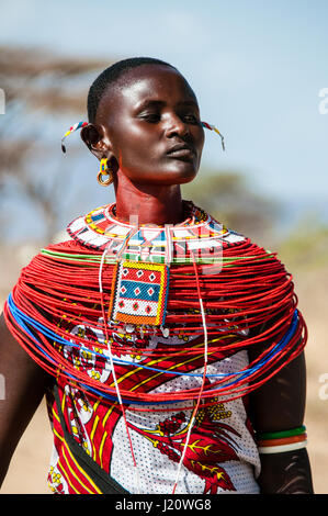 Close-up portrait of a Samburu Maasai Woman wearing traditional attire, Samburu Village, Samburu, Kenya, East Africa - Stock Image