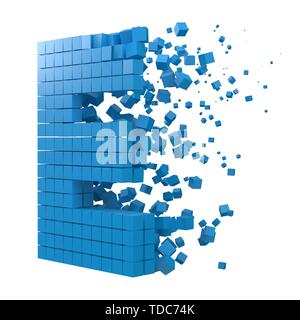 letter E shaped data block. version with blue cubes. 3d pixel style vector illustration. suitable for blockchain, technology, computer and abstract th - Stock Image