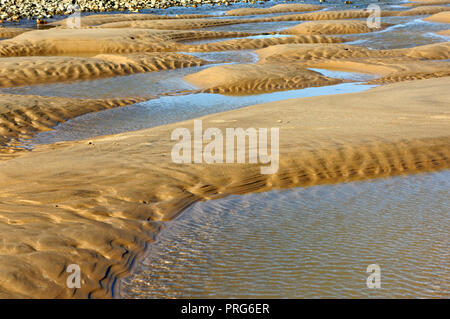 A close-up view of the beach surface on the North Norfolk coast at East Runton, Norfolk, England, United Kingdom, Europe. - Stock Image