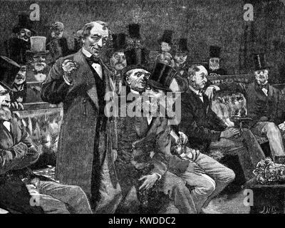 Mr Disraeli, Prime Minister, Telling the House of Commons his Story about 'Dry Champagne' 1875 - Stock Image