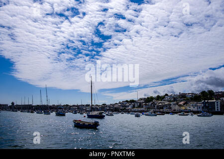Falmouth is a town on the coast of Cornwall in southwest England. It's known for its deep natural harbour on the Fal Estuary - Stock Image