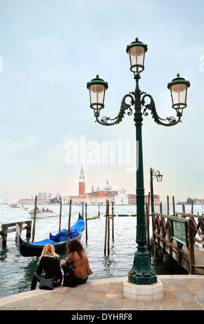 Venice, Italy. St. Mark's square (Piazza San Marco) with view of San Giorgio Maggiore church. - Stock Image