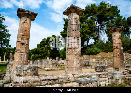 Olympia, Greece. The site of the Olympic Games in classical times. Temple of Hera. - Stock Image