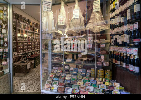 Deli shop window, Port Wine,  Bacalao, Sardines, Porto, Portugal - Stock Image