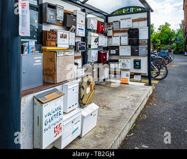 Collection of old letter boxes  in a disused bus shelter in Uferstrasse 8, Gesundbrunnen-Berlin - Stock Image