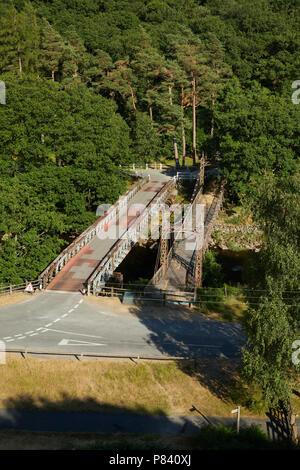 Elan Village Suspension Bridge Elan Valley Ryhayader Powys Wales UK - Stock Image