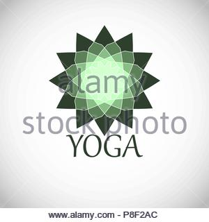 Geometric green emblem with the inscription 'yoga'. - Stock Image
