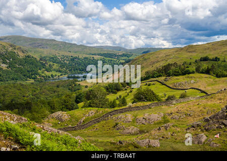 Looking down to Rydal Water in the Rothay Valley Lake District National Park Cumbria - Stock Image