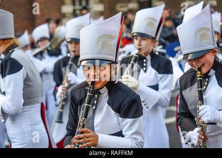 The Pride of Bixby High School Marching Band from Oklahoma, USA, at London's New Year's Day Parade, UK. 2019. American band - Stock Image