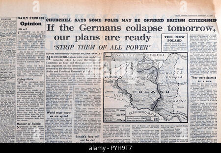 Daily Express map of Poland newspaper Second World War WWII  'If the Germans collapse tomorrow our plans are ready' 28 February 1945  London England U - Stock Image