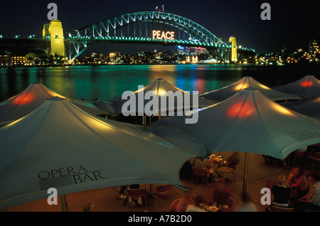Australia New South Wales Sydney Harbour Bridge Peace as New Year decoration - Stock Image