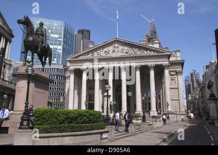 The Royal Exchange and Duke of Wellington statue London - Stock Image