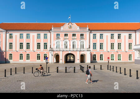 Toompea Castle, view of the front entrance of Toompea Castle in Tallinn, a palace that serves as the Estonia Parliament building. - Stock Image