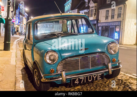 1961 Mini Cooper S classic car in turquoise, Beverley, East Riding, Yorkshire, England - Stock Image