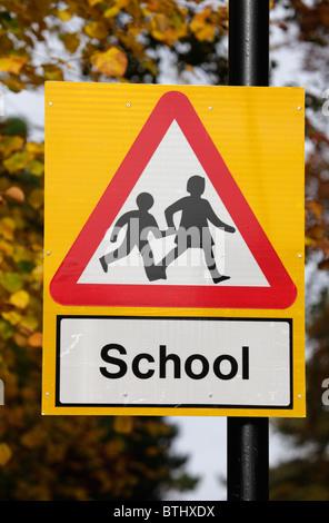 School road sign UK - Stock Image