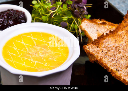 Pate toast and salad meal - Stock Image