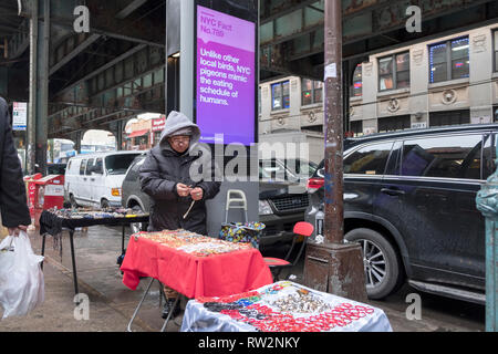 A vendor selling various jewelry objects under the elevated subway and near a fun fact about pigeons & humans. In Jackson Heights Queens, New York. - Stock Image