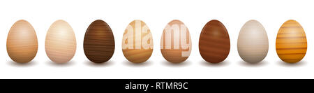 Wooden Easter eggs. Different species of wood types - set of eight polished, varnished, textured samples - brown, dark, gray, light, red, yellow decor. - Stock Image