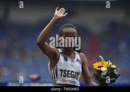 Ostrava, Czech Republic. 20th June, 2019. GUDAF TSEGAY of Ethiopia won the women's 1500-metre run for the third time in a row during the Ostrava Golden Spike, an IAAF World Challenge athletic meeting, in Ostrava, Czech Republic, on June 20, 2019. Credit: Jaroslav Ozana/CTK Photo/Alamy Live News - Stock Image