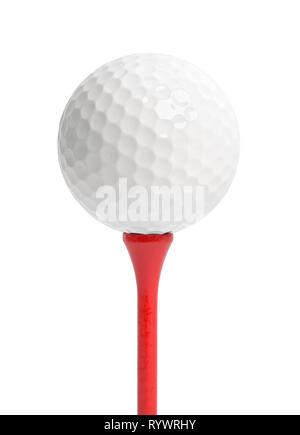 Golf Ball on Red Tee Cut Out on White. - Stock Image
