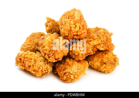 Chicken wings in breading isolated on a white background - Stock Image