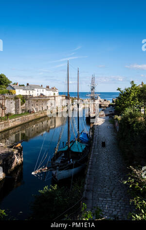 Charlestown is a 18th century village and port on the south coast of Cornwall, England, United Kingdom, and in the civil parish of St Austell Bay. - Stock Image