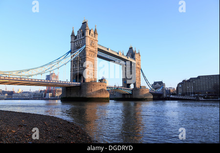 London Tower Bridge in the early morning England - Stock Image