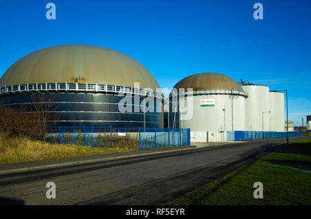 Gas storage tanks waste to energy plant using anaerobic digestion for disposal of organic waste and generating 5MW of electricity at Middlesbrough - Stock Image